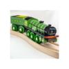 Fa gőzmozdony szeneskocsival zöld Bigjigs