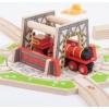 Fa vonatpálya játékszett ipari fordító 1 db-os Bigjigs
