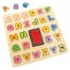 Formaválogató pecsét és puzzle betűkkel fa táblán 27 db-os Woody
