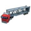 Kamion fém piros autó trélerrel 1:48