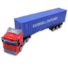 Kamion fém piros és kék 40 lábas konténerrel 1:64