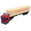 Kamion fém piros pótkocsival és 40 lábas konténerrel 1:48