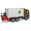 Kisautó kamion Scania UPS targoncával és raklappal műanyag Bruder 1:16