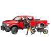 Kisautó terepjáró RAM játékfigurával és Ducati motorral műanyag Bruder 1:16
