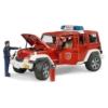 Kisautó tűzoltó terepjáró Jeep Wrangler Rubicon Unlimited piros játékfigurával és kiegészítőkkel műanyag Bruder 1:16
