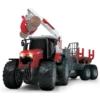 Massey Ferguson traktor és fa rakodó utánfutóval 42 cm
