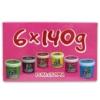Puha gyurma szett 6 db-os 6 x 140 g (zöld, barna, piros, sárga, rózsaszín, kék) Gyurmakirály