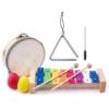 Zenei szett 8 db-os (triangulum, tamburin, szilofon, 2 maracas tojás) Woody