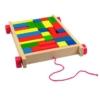 Építőkocka színes játék kis autóban fa 34 db-os Woody