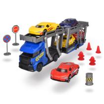 Autószállító fém teherautó szett 5 fém kisautóval és kiegészítőkkel