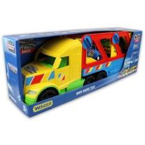 Autószállító kamion sportautókkal lámpával műanyag citromsárga