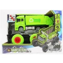 Bigfoot teherautó kukásautó lendkerekes zöld fém