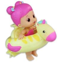 Bloopies felhúzható strandbébi pink haj, sárga úszógumi