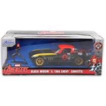 Bosszúállók Fekete özvegy fém autó 1966 Chevy Corvette fém figurával 1:24
