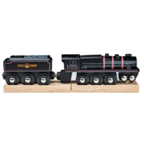 Fa gőzmozdony szeneskocsival fekete Bigjigs