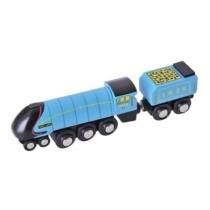 Fa gőzmozdony szeneskocsival kék Bigjigs