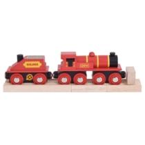 Fa gőzmozdony szeneskocsival piros Bigjigs
