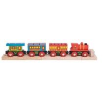 Fa mozdony 3 vagonnal személyszállító Bigjigs