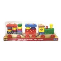 Fa vonat építőszett 3 vagonnal hanggal és fénnyel 20 db-os Woody
