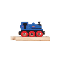 Fa vonat kék mozdony pályaelemmel Bigjigs