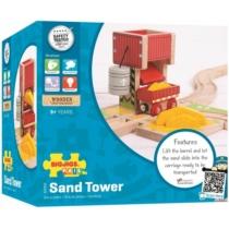 Fa vonatpálya játékszett homok torony 3 db-os Bigjigs