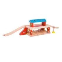 Fa vonatpálya játékszett vasút állomás felüljáróval 7 db-os Bigjigs