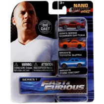 Fast & Furious fém kisautó szett 3 db-os Nano Hollywood Rides (Dodge, Toyota, Ford)