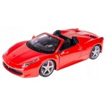 Fém autó Ferrari 458 Spider piros 1:24