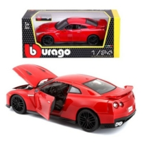 Fém autó Nissan GTR piros 1:24