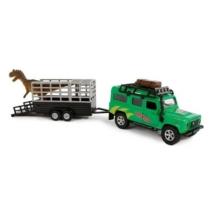 Fém hátrahúzós Land Rover dínószállító terepjáró utánfutóval zöld
