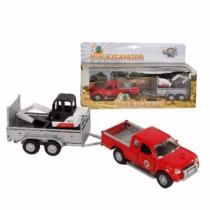 Fém hátrahúzós Pick-up teherautó vontatóval és mini kotrógéppel