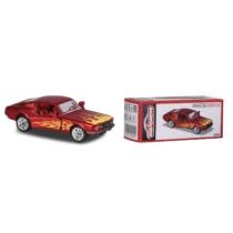 Fém kisautó Ford Mustang Fastback piros lángokkal
