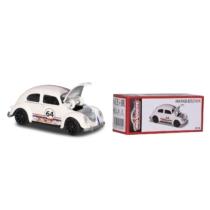 Fém kisautó VW Beetle Racing fehér