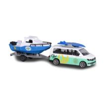 Majorette Fém kisautó utánfutóval VW Transporter csónakkal