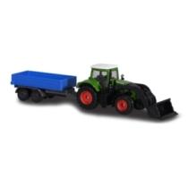Fém kisautó traktor utánfutóval