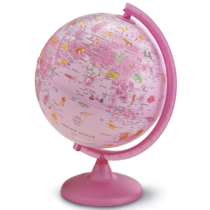 Földgömb állatvilág pink 25 cm átmérő