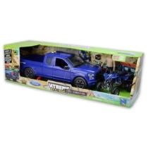 Ford F-150 kék Pickup, figura és Yamaha YFZ 450 kék quad hanggal és fénnyel