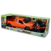 Ford F-150 narancssárga Pickup, figura és Suzuki Vinson Auto 500 quad hanggal és fénnyel