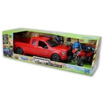 Ford F-150 piros Pickup, figura és Honda TRX450R piros quad hanggal és fénnyel