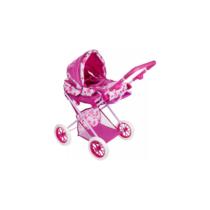 Játék babakocsi nagy mózeskosárral pink és fehér