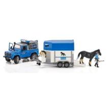 Játékautó Land Rover Defender rendőrségi terepjáró lószállítóval, lóval és figurával műanyag Bruder 1:16