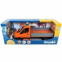 Játékautó Mercedes-Benz platós teherautó útjavító szett figurával és kiegészítőkkel műanyag Bruder 1:16