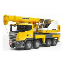 Játékautó Scania-R teherautó daruskocsi műanyag Bruder 1:16