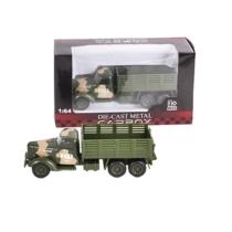 Katonai jármű terep színű fém teherautó nyitott platós 1:64