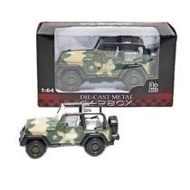 Katonai jármű terep színű fém terepjáró nyitott 1:64