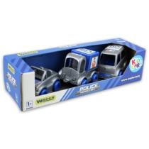 Kisautó játék szett Rendőrautók 3 db-os kék-szürke műanyag Kid Cars
