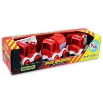 Kisautó játék szett Tűzoltóautók 3 db-os piros-fehér műanyag Kid Cars
