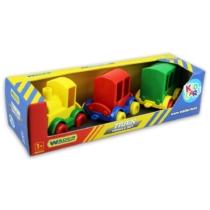 Kisautó játék szett Vonatok 3 db-os műanyag Kid Cars