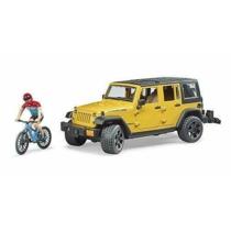 Kisautó terepjáró Jeep Wrangler Rubicon Umlimited sárga játékfigurával és biciklivel műanyag Bruder 1:16