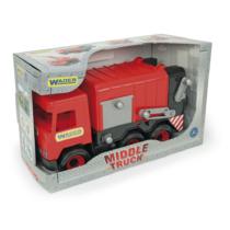 Kukásautó billenthető szemeteskukával piros 42 cm